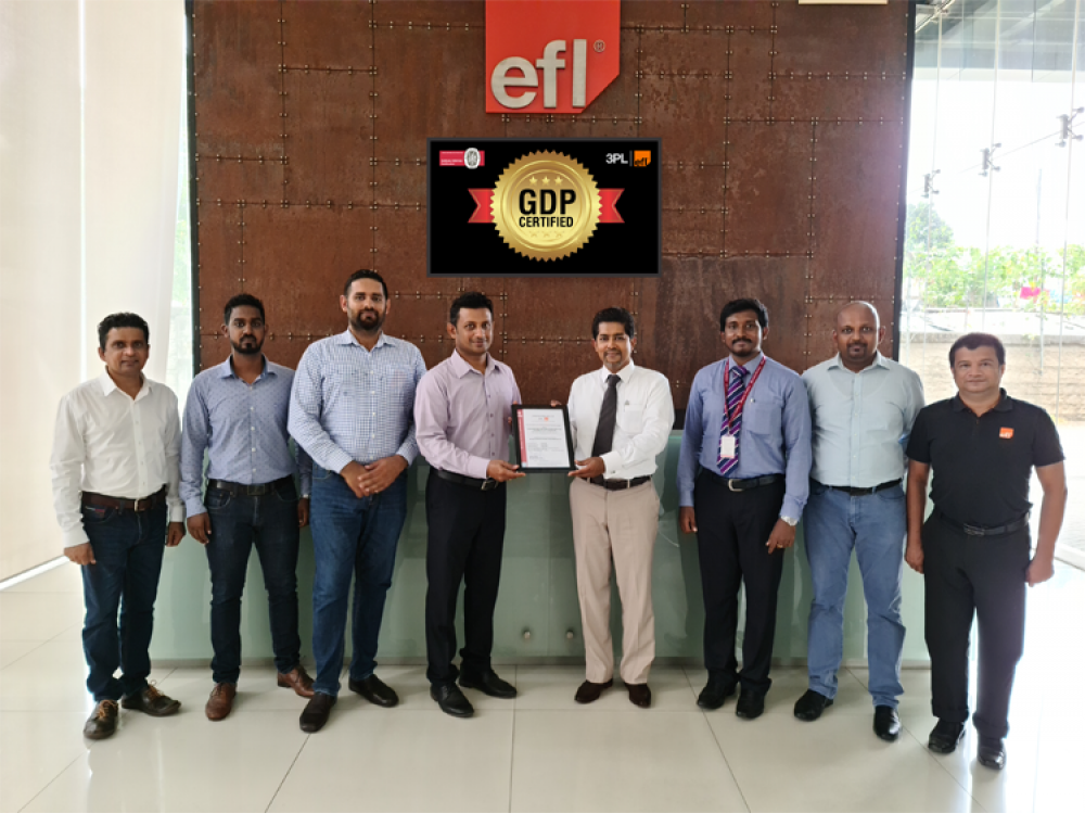 EFL 3PL team receiving the GDP certification from the Bureau Veritas
